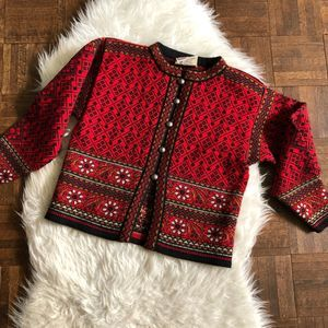 Dale of Norway Small Red Wool Cardigan Sweater